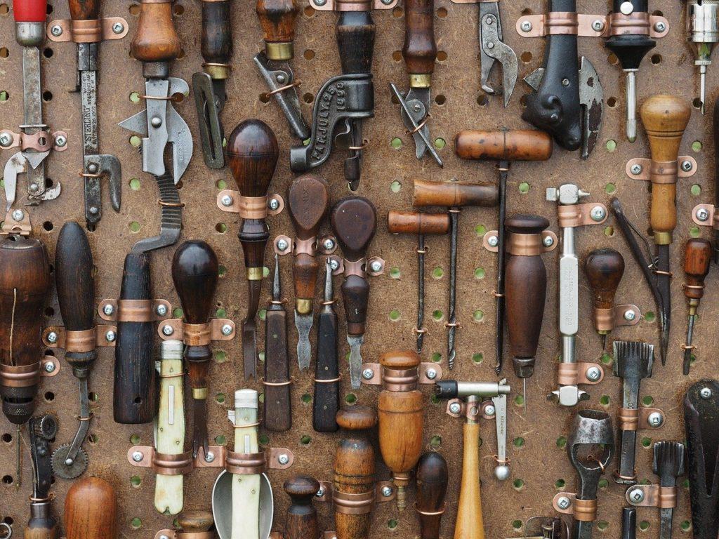 tools, awl, pliers